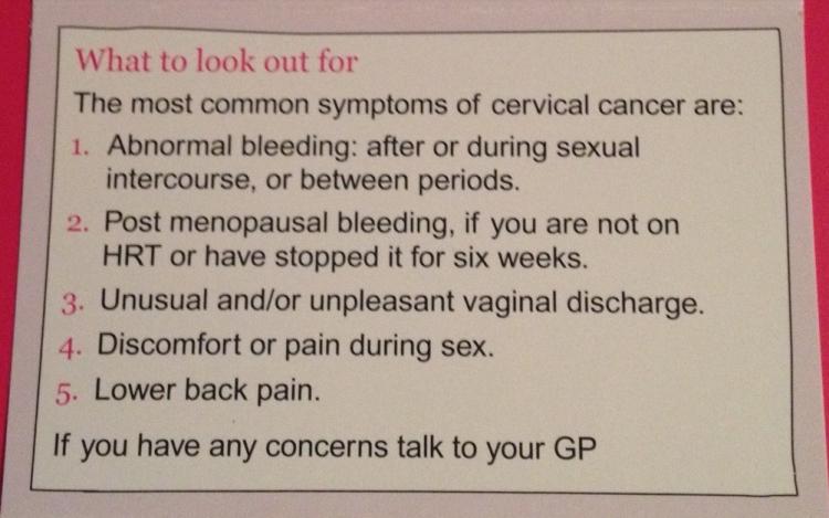 An image showing cervical cancer symptoms
