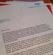 An images showing the cervical screen invite letter in the UK